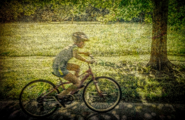 Boy on Bike, by Al Wood